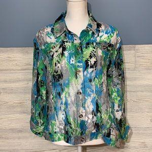Gorgeous floral see thru jacket 3/4 sleeves